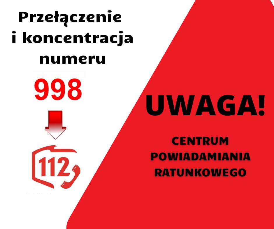 Informacja o przełączeniu i koncentracji numeru 998 na 112