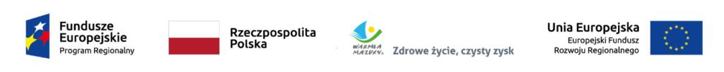Logotypy: Fundusze Europejskie Program Regionalny, Rzeczpospolita Polska, Warmia Mazury Zdrowe życie, czysty zysk, Unia Europejska EFRR