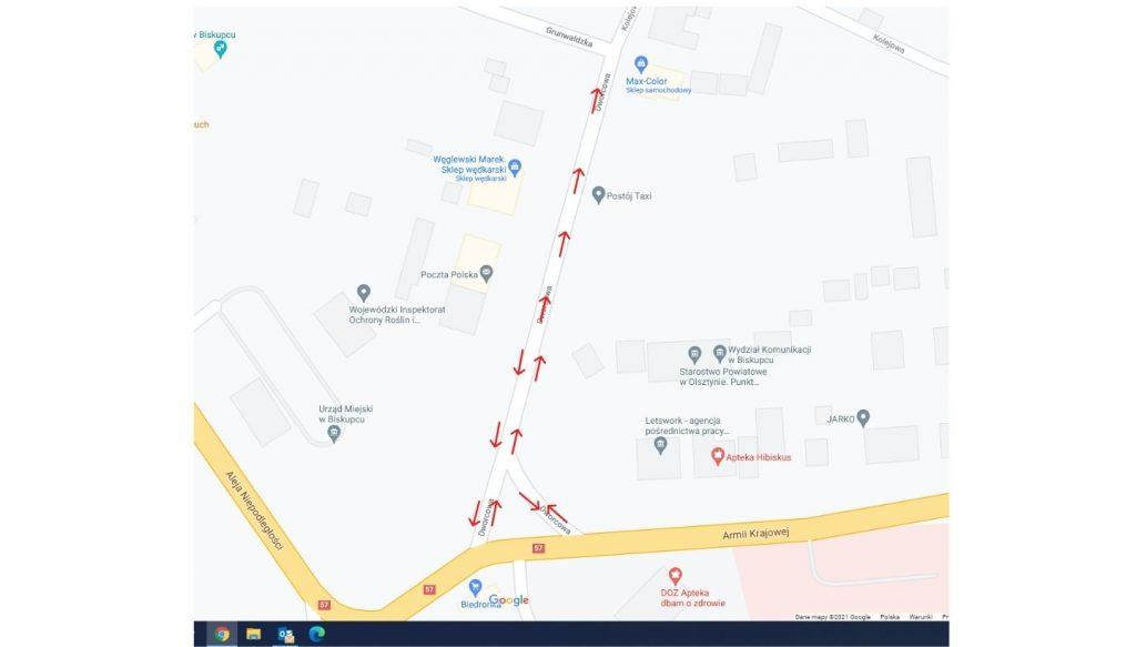 mapka pokazująca kierunek ruchu na ul. Dworcowej