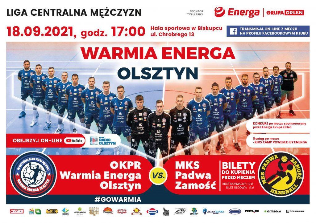 plakat mecz Warmia Energa Olsztyn